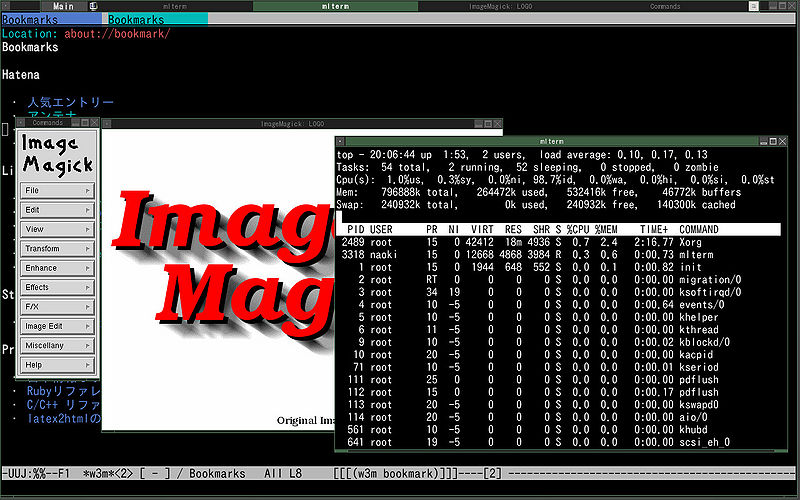 File:Fluxbox(grean-tea), emacs22-nox, top and Image Magick.jpg